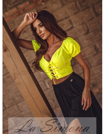 """TOP """"TIED JEANS"""" NEON LIMONKA"""
