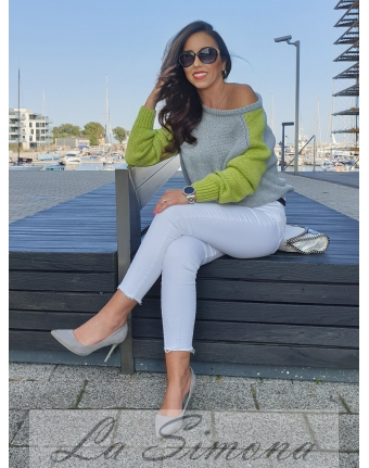 SWETER TWO COLORS SELEDYNOWY
